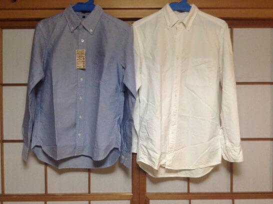 無印とユニクロのシャツの丈を比較